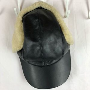 Black leather hat with Sherpa